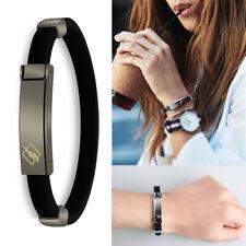 Black Button Black Band Fashion Anti Static Titanium Ionic Magnetic Bracelet