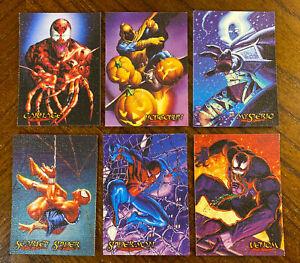 1996 SPIDER-MAN PREMIUM INSERT CANVAS ETERNAL EVIL - 6 Card Set VENOM CARNAGE