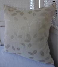Hamptons Ivory + Beige Neutral Leaves Jacquard Damask Cushion Cover 45cm