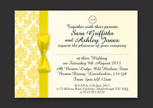 PERSONALISED WEDDING AND/OR EVENING INVITATIONS YELLOW DAMASK - V