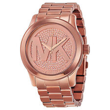 NWT Michael Kors Womens Runway Rose Gold Glitter Watch MK5661