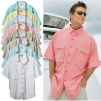 Hook Tackle Mens S-3XL BAHAMA GULF UPF 30 Short Sleeve Fishing Shirt Vented Back