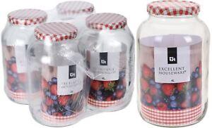 Jumbo 4 Litre Glass Storage Jar - Giant Jam Jar With Screw Top Metal Lid