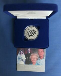 """2007 Silver Proof £5 Crown coin """"Diamond Wedding"""" in Case with COA"""