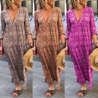 ZANZEA Women Long Sleeve V-Neck Casual Loose Floral Printed Maxi Dress Plus Size