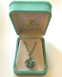 18K White Gold Plated Sterling Silver Australian Opal Pendant and Necklace