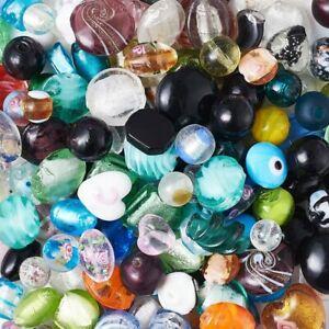 20 Lampwork Glass Beads Flat Coin Swirl Assorted Lot 4mm-20mm Mixed Set