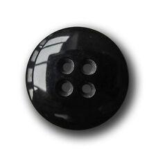 5 große schwarze linsenförmige Vierloch Knöpfe aus Kunststoff (1094sc-28mm)