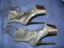 "7-1/2"" Extreme heel latex ankle boots EU 37 3-1.2 platform LOOK at these"