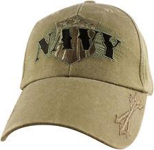 U.S. Navy Shield Hat / USN with Arrows Dark Khaki Baseball Cap