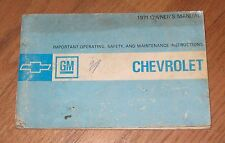 1971 CHEVROLET PASSENGER CAR OWNER'S MANUAL, CHEVY