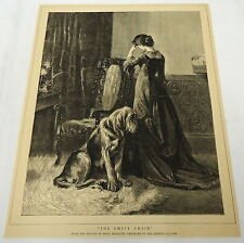 1884 magazine engraving~THE EMPTY CHAIR woman w/ dog, from pic by Percy Macquoid