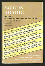 Say It In Arabic . Best Phrase Book, Travelers Learn Quick Word Substitutions
