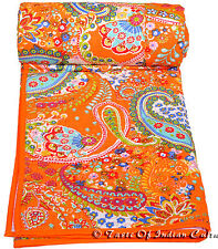 Paisley Orange Bedspread Hand Block Quilt Coverlet Throw Bedding Tapestry INDIA