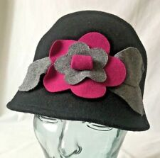 Big Buddha Black Cloche Ladies Wool Hat with Fuchsia Gray Flowers NWT