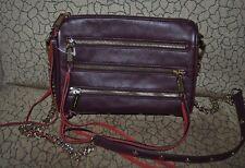 195+ Rebecca Minkoff Mini 5-Zip Crossbody Bag RED BURGUNDY Leather Clutch Bag