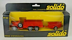 Solido France #391 Dodge 6X6 T223 WC63 Fire Vehicle With Trailer Mint With Box