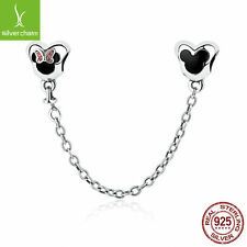 Authenitc 925 Silver Minnie Mouse Safety Chain Stopper Charms fit Original Chain