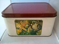 Vintage Bread Box Fruit Jug Glass Bread Shabby Chic 70's Metal