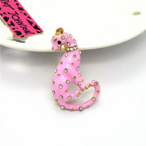 Betsey Johnson Lovely Pink Enamel Animal Leopard Rhinestone Woma's Brooch Pin