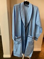 After Hours by Diplomat Mens Bath Robe Blue Piping Belt Cotton Blend Belted XL