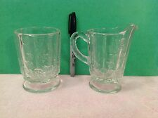 Vintage Westmoreland~Clear Paneled Grape~Footed~Glass & Small Pitcher or Creamer