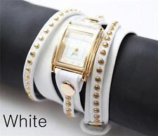 LA MER Watch GOLD STUD LEATHER WRAP White Color NEW One Size
