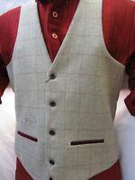 Marc Darcy Vintage Check Waistcoat Formal Tweed Ecru Mens 36R-52R