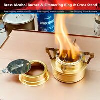 Brass Alcohol Burner & Simmering Ring & Cross Stand for Outdoor Hiking Camping