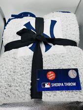 Yankees Sherpa Throw Blanket Blue Sbd White Super Soft Free Shipping MLB