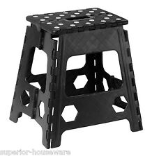Folding Step Stool with Anti Slip Dots 15 Inch (Black)-307(Superior Performance)