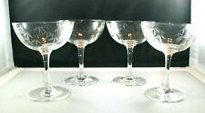 "4 NORITAKE GREY CUT ""BAMBOO"" CHAMPAGNE GLASSES! 1950'S!"