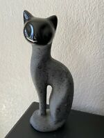 Vintage MCM Matte Sleek Black Charcoal Ceramic Cat Kitty Figurine Statue Decor