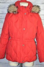 Lands End Down Puffer Jacket Winter Parka Coat Faux Fur Hood M/P 10-12 Red
