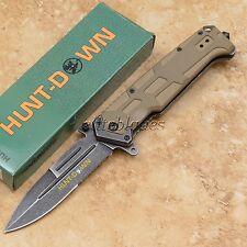 """8 3/4"""" Spring Assisted HUNT-DOWN Tactical Pocket Folding Knife Glass Breaker 565"""