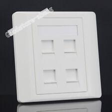 Wall Socket 4 Port Network LAN CAT6 RJ45 & RJ11 Telephone Outlet Panel Faceplat