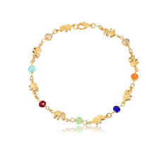 Anklet With Multi Color Crystals Sevil 18K Gold Plated Elephant Charm