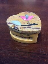"Heart Shaped Stone Trinket Box With Inlay Of Flowers 1"" Tall X 2"" Wide Valentine"