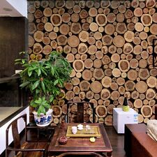 0.53*10M Wallpaper Vintage 3D Retro Short Stakes Wood Timber Pattern Vinyl Roll