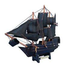 "BLACK CARIBBEAN PIRATE WOODEN NAUTICAL HOME DECOR MINIATURE BOAT SHIP MODEL 7"""