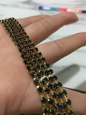 1 Meter Dark Blue clear crystal rhinestone encased In Gold metal chain 3mm