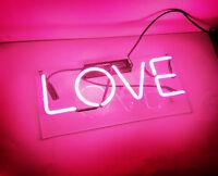 "14""x5""LOVE Neon Sign Light Handmade Beer Bar Pub Room Wall Poster Real Glass"