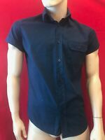 "ARMANI JEANS Men's Navy Cotton Short Sleeve Shirt Size S Chest 38"" Designer"