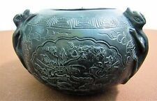 Large Chinese Bronze Censer w/ Dragons & Scenes