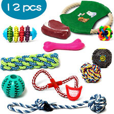 12 Pack Toy Set Dog Puppy Rope Toys Playful Squeaker & Teething Knots & Balls