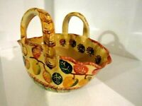 """ITALICA ARS Hand Painted POTTERY Bowl -WITH HANDLES Made in Italy 9""""x6.5"""" Wide"""