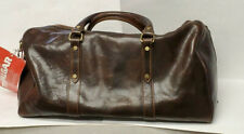 Trafalgar Vera Pelle Brown Leather Duffel Travel Carry On Bag Removable Strap