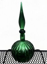 MURANO EMPOLI GLASS FLUTED BULBOUS GENIE BOTTLE DECANTER FLAME STOPPER DK GREEN