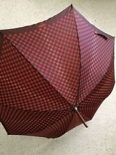 """GUCCI Umbrella Vintage Brown Red Wood J Handle Traditional 37"""" Signed Rare  MR"""