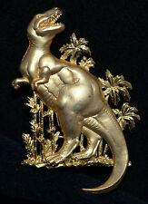 Vintage Jonette Jewelry Gold Roaring Standing Dinosaur with Palm Trees Signed JJ